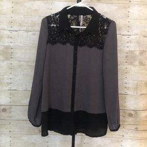 Miillas gray and black lace blouse